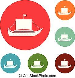 Schiff antike Ikonen setzen Vektor.