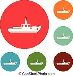 Schiffs-Fischerei-Icons setzen Vektor.