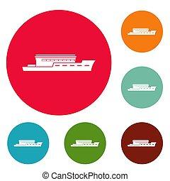 Schiffs-Fluss-Icons sind gesetzt.