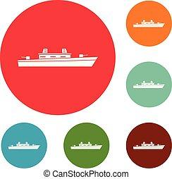 Schiffs-Militär-Icons setzen Vektor.