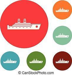 Schiffs-Passagier-Icons setzen Vektor.