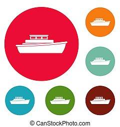 Schiffsdesign-Icons, Kreis gesetzt.