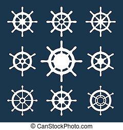 Schiffsführer-Vektor-Icons eingestellt
