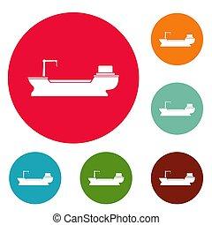 Schiffsfracht-Icons sind im Kreis.