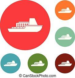 Schiffskreuz-Icons setzen Vektor.