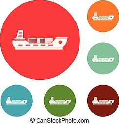 Schiffsladungs-Icons setzen Vektor.