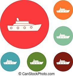 Schiffssee-Icons, Kreis gesetzt Vektor.