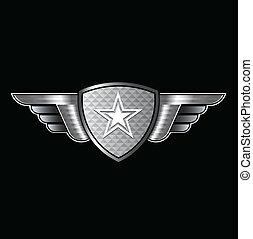 Schild mit Flügeln und Stern