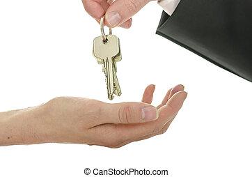 schlüssel, haus, handover