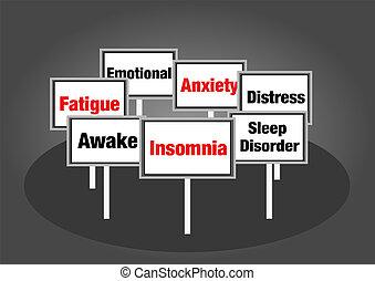 schlafprobleme, zeichen & schilder