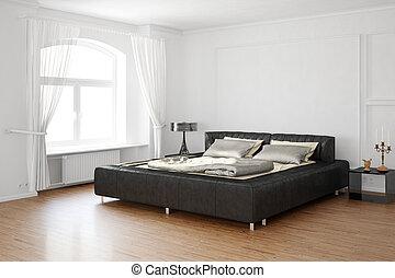 Schlafraum mit Bett und Lederteilen