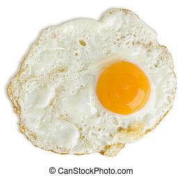 Schlecht gebratenes Ei isoliert auf weißem mit einem Ausschnitt