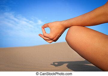 schließen, meditation, auf