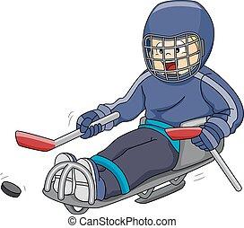 schlitten, hockey