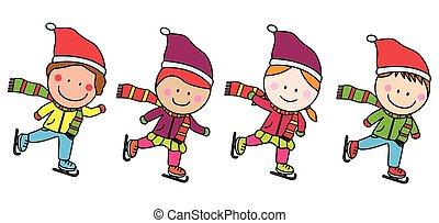 schlittschuhlaufen, kinder, eis