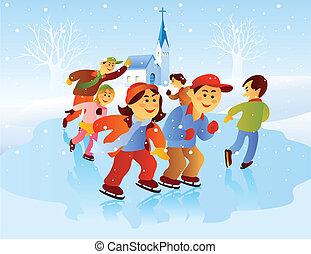 schlittschuhlaufen, kinder, spielende , eis