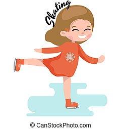 schlittschuhlaufen, reizend, wenig, kinder, gefrorenes, eis, oberfläche, m�dchen, sport