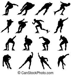 schlittschuhlaufen, satz, silhouette, mann