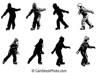 schlittschuhlaufen, silhouetten, kinder, eis