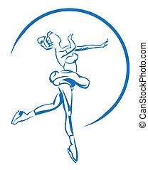 schlittschuhlaufen, symbol, eis