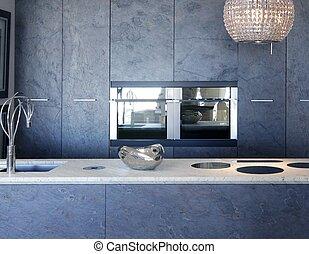 Schlitze-Steine-Küche-Fornitur, Marmor-weiße Bank