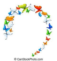 Schmetterlinge im Kreis.
