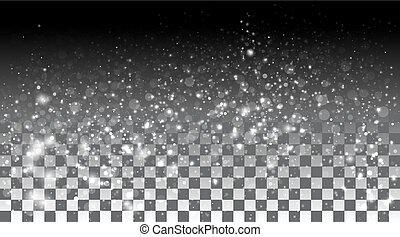 Schneefall auf transparentem Hintergrund