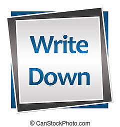 Schreib blaue graue Quadrate auf.