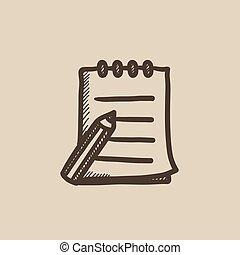 Schreibblock und Stiftzeichner.