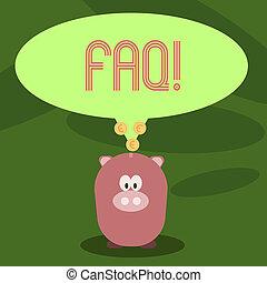 Schreibende Notiz, die faq zeigt. Geschäftsfoto, das häufig gestellte Fragen stellte, um Verwirrungen zu beseitigen.