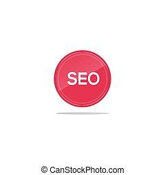 schreibende, seo, front, glas, circle., kreisförmig, dahin, article., rotes