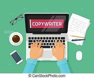 schreibende, text, ort, artikel, abbildung, texter, edv, vektor, sumpf, copywriting, person, arbeitende , laptop, idee, karton, freiberufler, schirm, wohnung, tisch, arbeitende , autor, arbeitsplatz, journalist