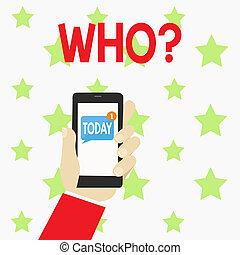 Schreibt Text, wer fragt. Konzept bedeutet, nach einem bestimmten Namen von jemandem zu fragen, der demonstriert, menschliche Hand mit Smartphone mit nummerierten ungelesenen leeren Nachrichten auf dem Bildschirm.