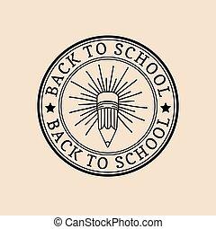 schule, weinlese, zurück, zeichen, vektor, retro, label., icon., bildung, pencil., kinder