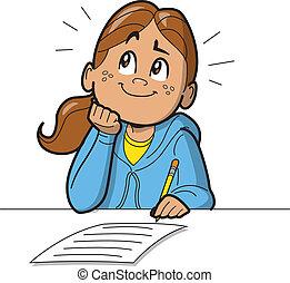 Schulmädchen macht einen Test