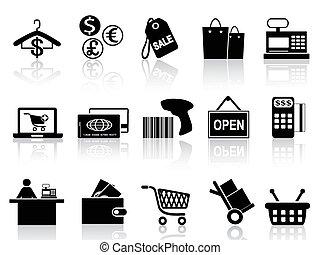 schwarz, einzelhandel, satz, shoppen, heiligenbilder