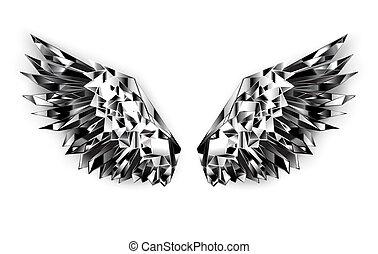 schwarz, flügeln, spiegel
