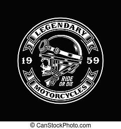schwarz, radfahrer, weinlese, totenschädel, emblem