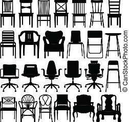 schwarz, stuhl, satz, silhouette