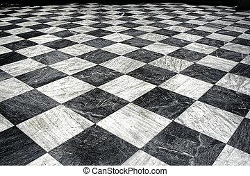 Schwarz und weißer Marmorboden
