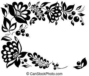 Schwarz-weiße Blumen und Blätter. Blumendesign-Element im Retrostil