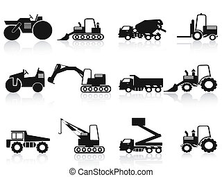 Schwarze Baufahrzeuge Symbole gesetzt.