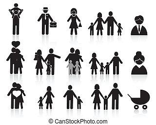 Schwarze, glückliche Familien-Ikonen.