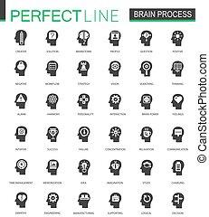 Schwarze klassische Gehirn-Prozess Icons gesetzt.