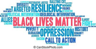 Schwarze Leben bedeuten Wortwolke.