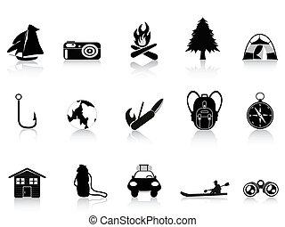 Schwarze Natur und Camping-Ikone