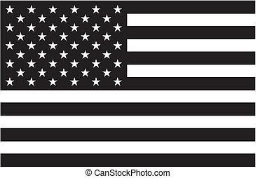 Schwarze und weiße amerikanische Flagge