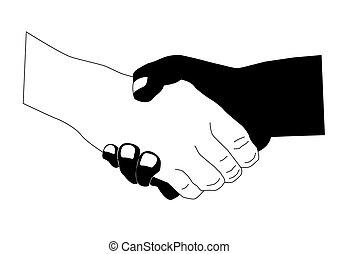 Schwarze und weiße Hand schütteln.