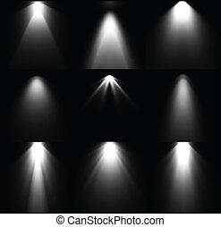 Schwarze und weiße Lichtquellen. Vector Set