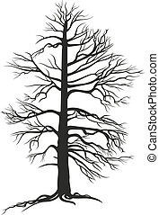 Schwarzer Baum mit Wurzeln